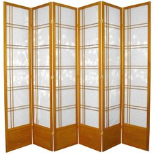 "83.5"" x 86"" Double Cross Shoji Bamboo Tree 6 Panel Room Divider"