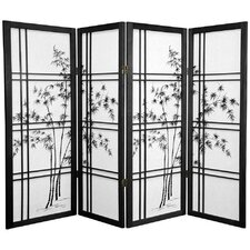 "<strong>Oriental Furniture</strong> 48"" x 57"" Bamboo Tree Double Cross Shoji 4 Panel Room Divider"