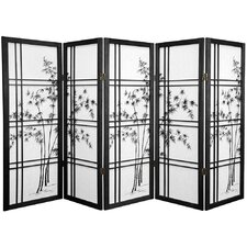 "48"" x 72"" Bamboo Tree Double Cross Shoji 5 Panel Room Divider"