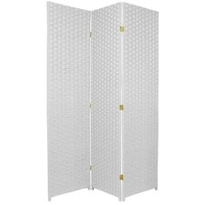 Tall Woven Fiber Room Divider in White