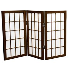 2 Feet Tall Desktop Window Pane Shoji Screen in Walnut