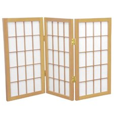 2 Feet Tall Desktop Window Pane Shoji Screen in Natural