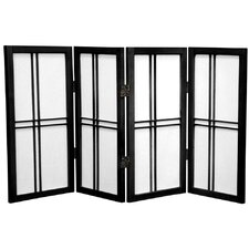 "26"" Desktop Double Cross Shoji Screen 4 Panel Room Divider"