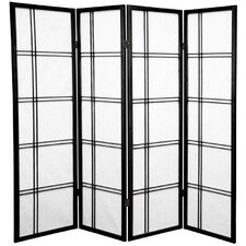 "60"" Double Cross Shoji Screen 4 Panel Room Divider"
