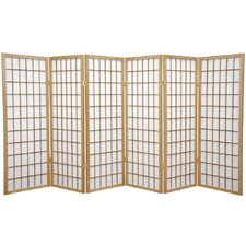 "48"" x 85"" Window Pane Shoji 6 Panel Room Divider"
