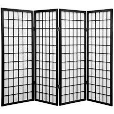 "48"" x 57"" Window Pane Shoji Screen 4 Panel Room Divider"