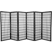 "48"" x 85"" Window Pane Shoji Screen 6 Panel Room Divider"