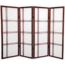 "48"" Double Cross Shoji Screen 4 Panel Room Divider"