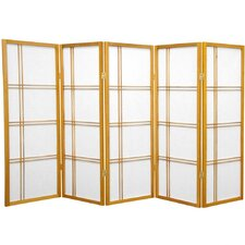 "<strong>Oriental Furniture</strong> 48""x 71"" Double Cross Shoji 5 Panel Room Divider"