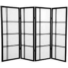 "<strong>Oriental Furniture</strong> 48"" x 57"" Double Cross Shoji 4 Panel Room Divider"