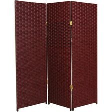 Tall Woven Fiber Room Divider in Red and Black