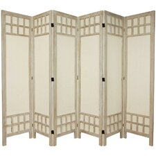 "<strong>Oriental Furniture</strong> 67"" Tall Window Pane Fabric 6 Panel Room Divider"