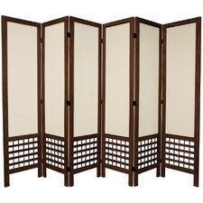"<strong>Oriental Furniture</strong> 67"" Tall Open Lattice Fabric 6 Panel Room Divider"