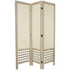 Open Lattice Fabric Room Divider in Burnt White