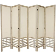 "67"" Tall Open Lattice Fabric 6 Panel Room Divider"