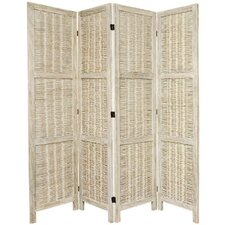 "<strong>Oriental Furniture</strong> 67"" x 57"" Bamboo Tree Matchstick Woven 4 Panel Room Divider"