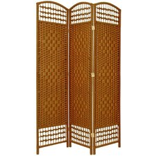 5.5 Feet Tall Fiber Weave Room Divider in Dark Beige
