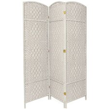 6 Feet Tall Diamond Weave Fiber Room Divider in White