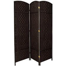 6 Feet Tall Diamond Weave Fiber Room Divider in Black