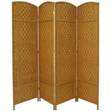 "71"" Tall Diamond Weave Fiber 4 Panel Room Divider"