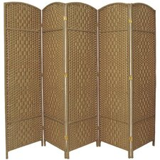 "71""x 80"" Tall Diamond Weave Fiber 5 Panel Room Divider"