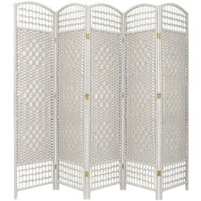 "67"" Tall Fiber Weave 5 Panel Room Divider"