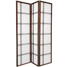Double Cross Shoji Screen with Three Panel in Walnut