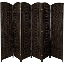 Diamond Weave 6 Panel Room Divider in Black