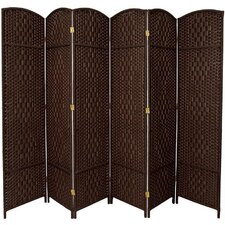 Diamond Weave 6 Panel Room Divider in Dark Mocha