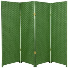 "<strong>Oriental Furniture</strong> 48"" x 64"" Woven Fiber 4 Panel Room Divider"