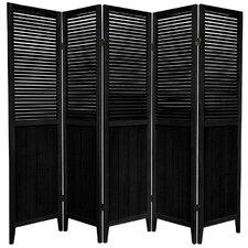 "70"" x 78.75"" Rosewood Beadboard 5 Panel Room Divider"