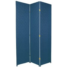 Special Edition Woven Fiber 3 Panel Room Divider in Blue Jeans