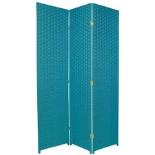 Special Edition Woven Fiber 3 Panel Room Divider in Turquoise Blue