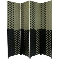 "<strong>Oriental Furniture</strong> 70.75"" x 70"" Woven Fiber 4 Panel Room Divider"