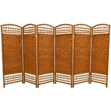 Fiber Weave 6 Panel Room Divider in Dyed Dark Beige