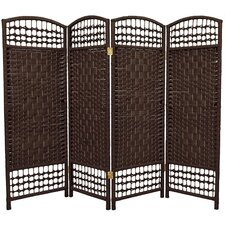 Fiber Weave 4 Panel Room Divider in Dyed Dark Mocha