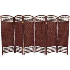 Fiber Weave 6 Panel Room Divider in Dyed Dark Red