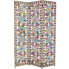 "67.75"" x 46.5"" Tall Flowers and Beads 3 Panel Room Divider"