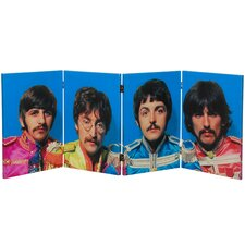 "<strong>Oriental Furniture</strong> 23.75"" x 63"" Tall Double Sided The Beatles Sgt. Pepper's 4 Panel Room Divider"