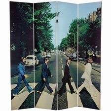"<strong>Oriental Furniture</strong> 71"" x 63"" Tall Double Sided The Beatles Abbey Road 4 Panel Room Divider"