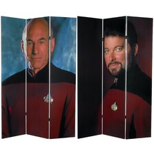 "<strong>Oriental Furniture</strong> 71"" x 47.25"" Star Trek Tall Double Sided Picard and Riker 3 Panel Room Divider"