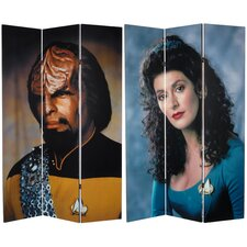 "<strong>Oriental Furniture</strong> 71"" x 47.25"" Star Trek Tall Double Sided Worf and Troi 3 Panel Room Divider"