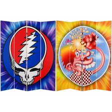 "71"" x 63"" Tall Double Sided Grateful Dead Steal Your Face 4 Panel Room Divider"