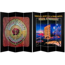 "71"" x 63"" Tall Double Sided Grateful Dead Mars Hotel / American Beauty 4 Panel Room Divider"