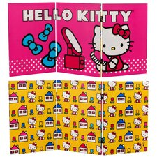 "23.75"" x 47.25"" Tall Double Sided Hello Kitty Vanity 3 Panel Room Divider"