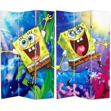 "<strong>Oriental Furniture</strong> 71"" x 47.25"" Tall Double Sided SpongeBob SquarePants 3 Panel Room Divider"