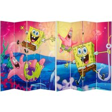 "71"" x 63"" Tall Double Sided SpongeBob and Patrick 4 Panel Room Divider"