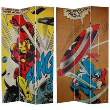 "84"" x 51"" Tall Double Sided Captain America/Iron Man 3 Panel Room Divider"