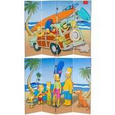 "48"" x 63"" Tall Double Sided Simpson Family Vacation 4 Panel Room Divider"