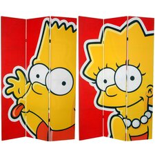 """71"""" x 47.25"""" Tall Double Sided Bart and Lisa 3 Panel Room Divider"""